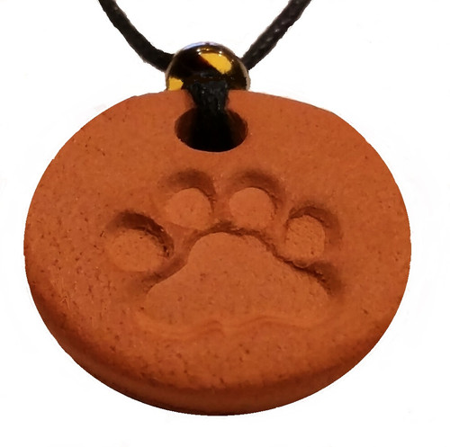 Animal, Dog or Cat Paw Terracotta Necklace For Essential Oils