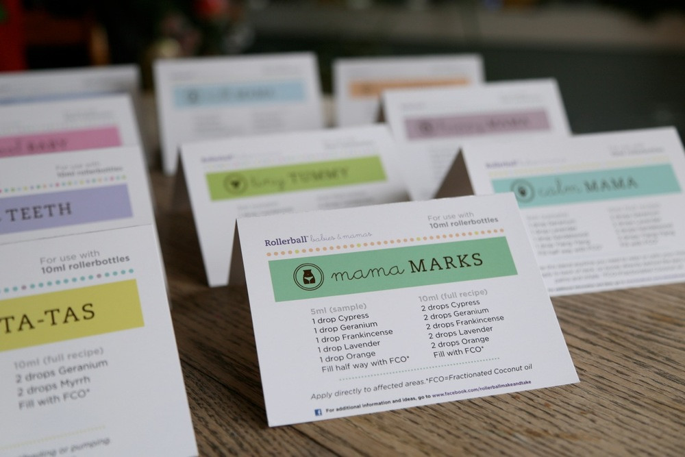 Rollerball Babies Amp Mamas Recipe Tent Cards For Essential