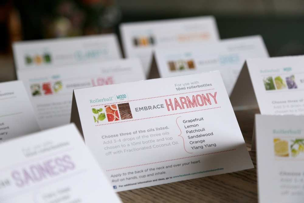 Rollerball Mood Recipe Tent Cards For Essential Oil Make
