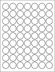 "1"" Blank White Circle Labels"