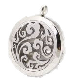Aroma Jewelry Floral Swirl Essential Oil Diffusing Locket Pendant Necklace For Aromatherapy