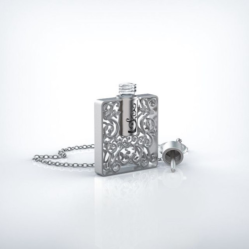 Aroma jewelry silver square refillable essential oil perfume pendant aroma jewelry silver square refillable essential oil perfume pendant necklace for aromatherapy aloadofball Image collections
