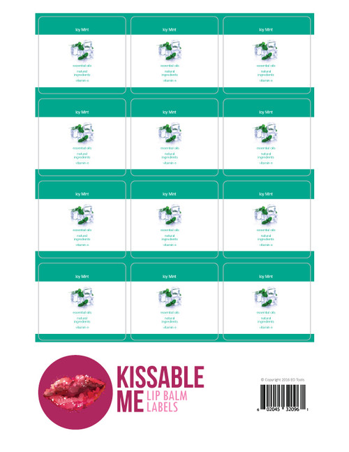 Kissable Me Icy Mint Essential Oil Lip Balm Labels
