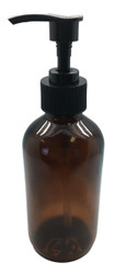 8 oz. Amber Glass Bottle with Black Lotion Pump Top