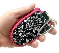 Hot Pink Damask Keychain Essential Oil Personal Travel Bag For 2 ml Glass Bottles and Rollerball Bottles