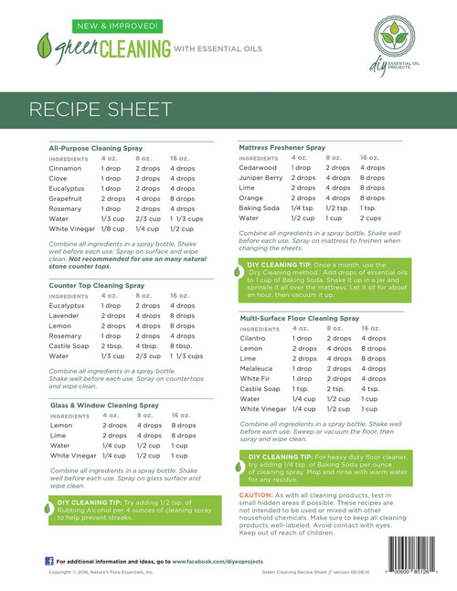 Green Cleaning With Essential Oil Recipe Sheet