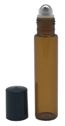 15 ml Amber Glass Roller Bottles with Stainless Steel Roll On Inserts For Essential Oils