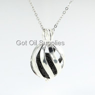 Black Natural Lava Stone Essential Oil Jewelry Stripe Openwork Pendant Necklace