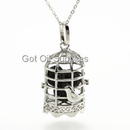Silver Birdcage Essential Oil Lava Jewelry Pendant Necklace With Black Lava Bead For Aroma Therapy