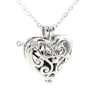 Small Silver Paisley Heart Essential Oil Lava Jewelry Pendant Necklace For Aromatherapy Black