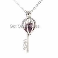 Silver Key Red Lava Bead Essential Oil Diffuser Lava Pendant Necklace For Aromatherapy