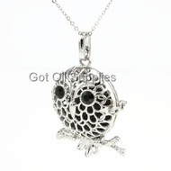 Silver Night Owl Essential Oil Lava Jewelry Diffuser Necklace With Black Lava Bead For Aromatherapy