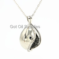 Black Essential Oil Drop Shaped Essential Oil Lava Stone Pendant Necklace Aromatherapy Jewelry