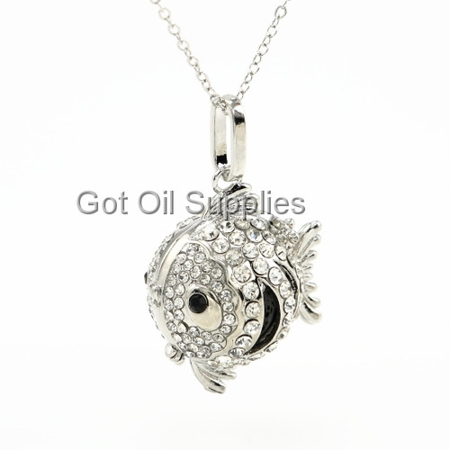 Silver Fish Pendant With Black Lava Stone Essential Oil Necklace For Aromatherapy