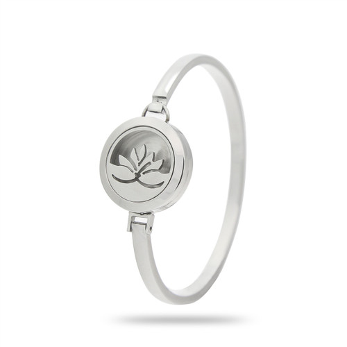 Silver Lotus Flower Essential Oil Diffuser Stainless Steel Bracelet For Aromatherapy