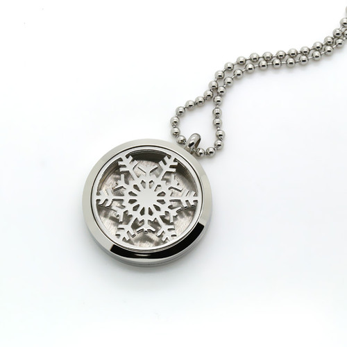 Aroma Jewelry Snowflake Essential Oil Diffusing Locket Pendant Necklace For Aromatherapy