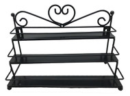Black Metal Display Wall Rack With 3 Tiers For Essential Oil Containers
