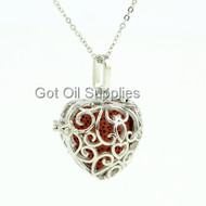 Red Silver Large Round Heart Essential Oil Lava Jewelry Necklace For Aroma Therapy
