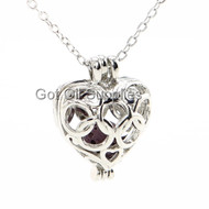 Purple Small Silver Heart With Connecting Rings Lava Jewelry Essential Oil Necklace For Aroma Therapy