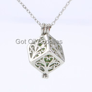 Silver Cube With Flower Design Essential Oil Necklace With Green Lava Stone For Aromatherapy