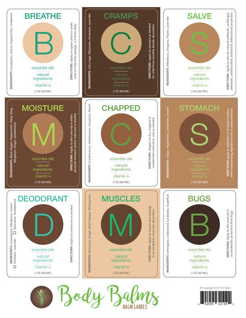 Essential Oil Body Balms Labels