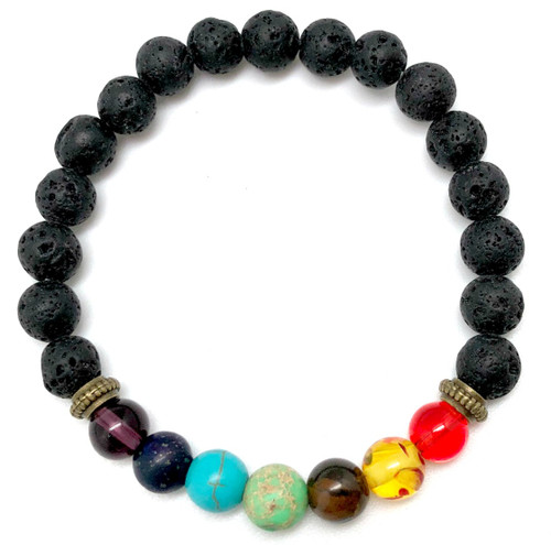 Chakra Gemstone Bracelet with Lava Beads For Essential Oils