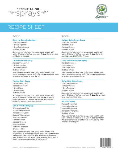 essential oil sprays recipe sheets