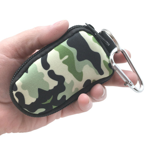 Green Camo Keychain Essential Oil Personal Travel Bag For 2 ml Glass Bottles