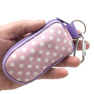Lavender with White Polka Dots Keychain Essential Oil Personal Travel Bag For 2 ml Glass Bottles