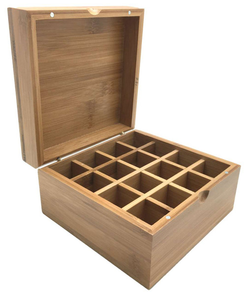 Natural Wood Bamboo Essential Oil Box - 16 dōTERRA, Young Living or Plant Therapy Vials, Bottles and Containers