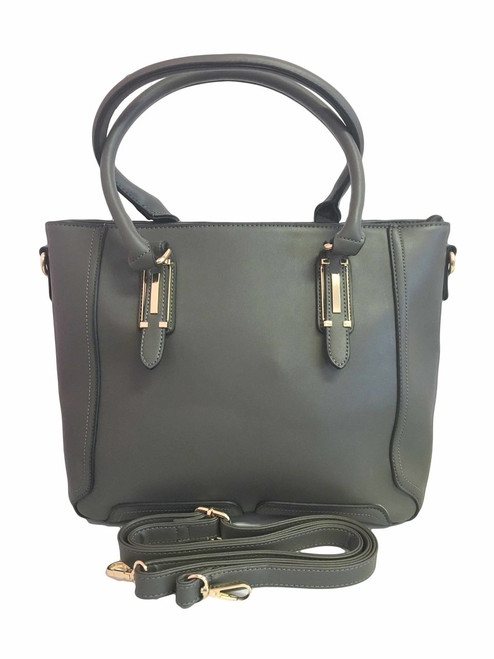 Jolyn | Charcoal Gray Essential Oil Designer Purse with Gold Hardware