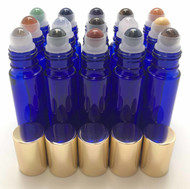 Chakra Gemstone Rollerball Inserts with Essential Oil Blue Roller Bottles with Gold Lids