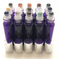 Chakra Gemstone Rollerball Inserts with Essential Oil Purple Roller Bottles with Silver Lids