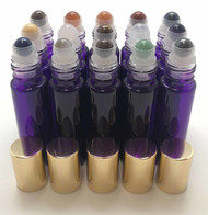 Chakra Gemstone Rollerball Inserts with Essential Oil Purple Roller Bottles with Gold Lids