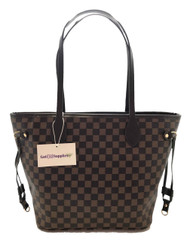Sophia   Black and Brown Checkered Essential Oil Designer Purse with Gold Hardware