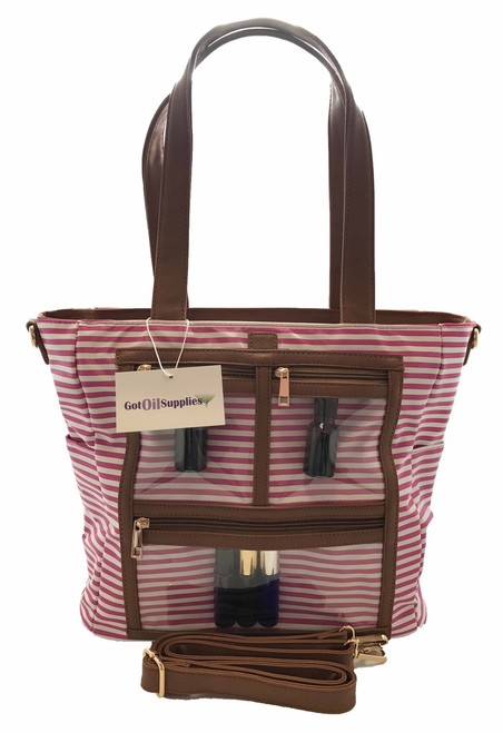 Margaret   Hot Pink and White Striped Essential Oil Designer Tote with Gold Hardware and Clear Presentation Pockets