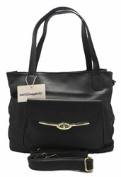 Kristi | Black Essential Oil Designer Purse with Gold Hardware