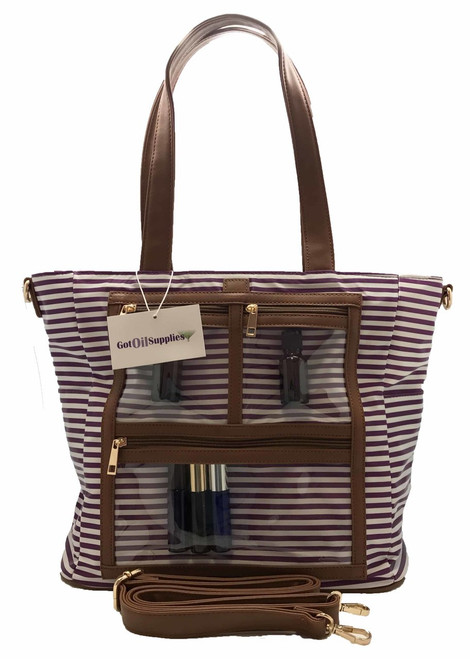 Kim | Purple and White Striped Essential Oil Designer Tote with Gold Hardware and Clear Presentation Pockets