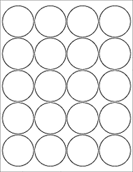 "20 2"" Blank White Circle Labels"
