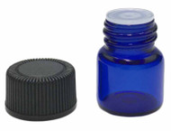 1 ml Boston Round Glass Blue Essential Oil Bottles with Orifice Reducers and Black Lids