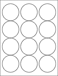 "12 2.5"" Blank White Circle Labels"