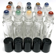 Chakra Gemstone Rollerball Inserts with Essential Oil Clear Roller Bottles with Black Lids
