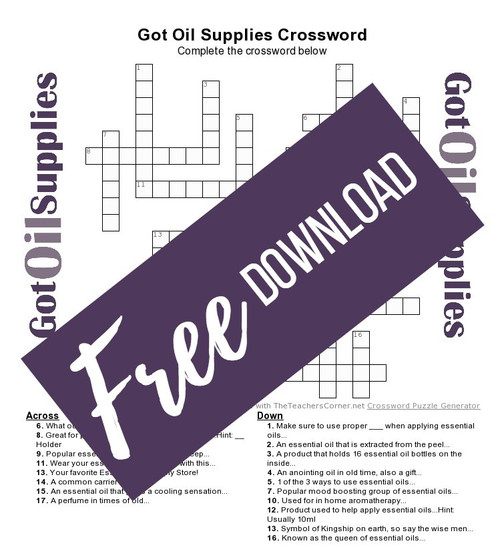 Got Oil Supplies Essential Oil Crossword Puzzle for National Crossword Day 2017
