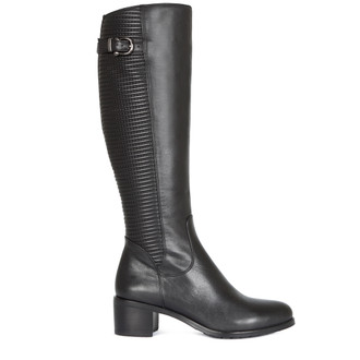 Smooth and Quilted Leather Long Boots GD 5449016 BLK
