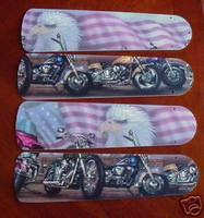 """New MOTORCYCLES FLAG EAGLE 52"""" Ceiling Fan BLADES ONLY"""
