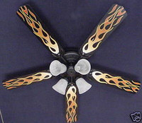 """New HOT ROD FIRE FLAMES Ceiling Fan 52"""""""