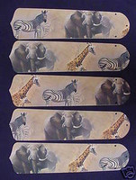 "New AFRICAN SAFARI ELEPHANT 52"" Ceiling Fan BLADES ONLY"