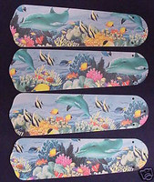 """New DOLPHINS FISH REEF 42"""" Ceiling Fan BLADES ONLY"""