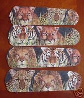 "New AFRICAN LION TIGER LEOPARD Ceiling Fan 52"""
