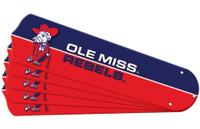 "New NCAA OLE MISS MISSISSIPPI REBELS 52"" Ceiling Fan Blade Set"